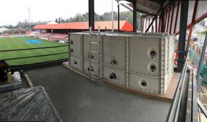 Football stadium sectional water tank