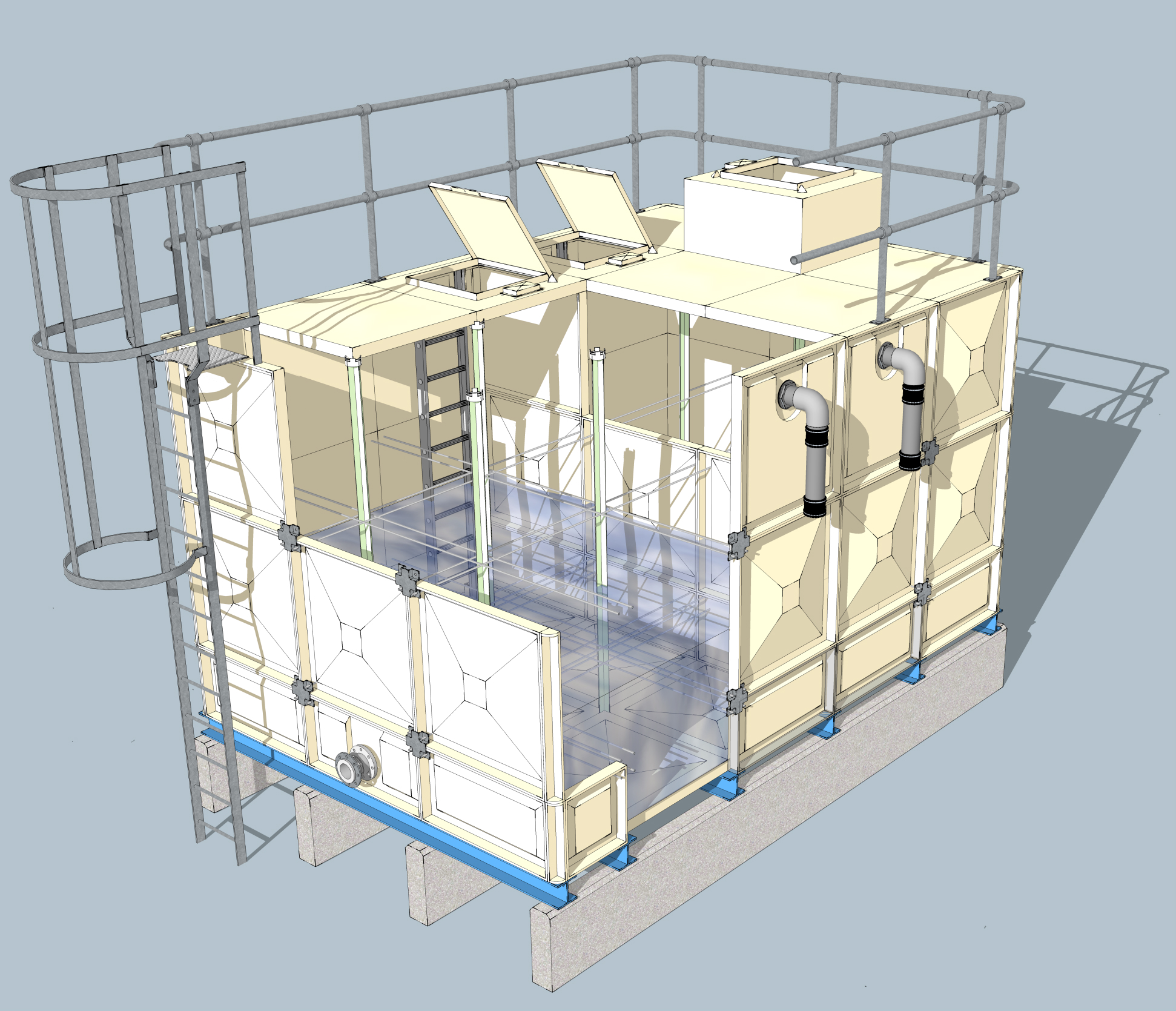 Sectional Water Tank Components 3d Image Of Safety Features